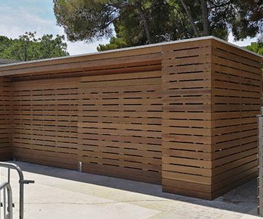Extension local technique ossature bois / bardage IPE / étanchéité Toit terrasse | Balaruc (34)